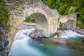 View of old stone bridge over river Royalty Free Stock Photo