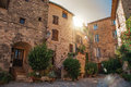 View of old stone houses in alley under shadow at Les Arcs-sur-Argens Royalty Free Stock Photo
