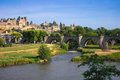 View of the old town carcassonne southern france founded by visigoths in th century it was restored in and is now a unesco Royalty Free Stock Photos