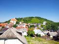 View of the old town of kazimierz dolny on the wisla river in po poland visible hill with three crosses Stock Images