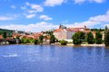View of the old town of prague across vltava river towards castle czech republic Royalty Free Stock Photography