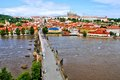 View of the old town of prague aerial across vltava river towards castle czech republic Stock Photography