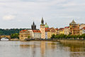 View of the old town of prague on vltava river Stock Photos