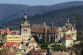 View on old town in sighisoara clock tower and transylvania romania Royalty Free Stock Photos