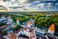 View of the Old Town from St. Olaf's Church Tower, in Tallinn, E Royalty Free Stock Photo