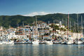 View of the old village and yachts from the sea Stock Photography