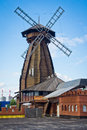 View of old wooden mill in a summer day Royalty Free Stock Photo