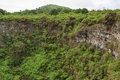 View of one of the twin volcanic craters in the highlands of Santa Cruz Royalty Free Stock Photo