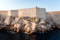 View from the open sea to the city walls of dubrovnik defensive Royalty Free Stock Images