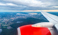 View of Oslo from an airplane on the approach to Gardermoen Airport Royalty Free Stock Photo