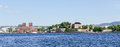View on Oslo Fjord harbor and Akershus Fortress panorama Royalty Free Stock Photo
