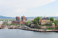 View of Oslo Norway Radhuset and Akershus castle from the sea Royalty Free Stock Photo