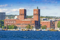 View of Oslo Town Hall from the sea Royalty Free Stock Photo