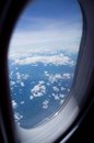 View out of airplane in flight Royalty Free Stock Photo