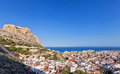 View over alicante spain to the mediterranean scenic landscape rooftops of sea a popular tourist destination and coastal port Stock Image