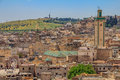 View over the ancient rooftops of the Fez medina Royalty Free Stock Photo