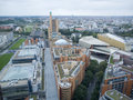View over berlin wiht philharmonie germany september panoramic from the tower on potsdamer platz covered sky Stock Images