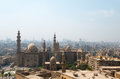 View over cairo city with mosques mosque of sultan hassan and al rifai mosque Stock Image