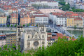 View over the city of lyon Lyon cathedrals Royalty Free Stock Image