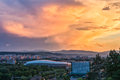 View over cluj napoca at sunset aerial Royalty Free Stock Images