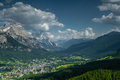 View over cortina d ampezzo beautiful the famous italian skiresort and mountainclimbing place in italy at summertime Stock Photos
