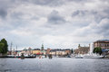 View over Gamla Stan Old Town district in Stockholm, Sweden, seen from water, Baltic sea Royalty Free Stock Photo