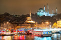 View over Golden Horn in Istanbul on night Royalty Free Stock Photo