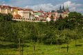 View over historic center of Prague with castle absorbed in the green Royalty Free Stock Photo
