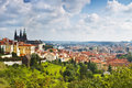 View over historic center of Prague with castle Royalty Free Stock Photo