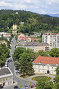 View over klagenfurt from st egyd church am worthersee the capital of the federal state of carinthia in austria in the foreground Royalty Free Stock Photo