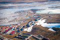 View over longyearbyen from above svalbard norway Royalty Free Stock Image