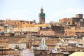 View over medina of fes morocco mosque in old Royalty Free Stock Image