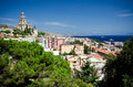 View over messina sicily the city of and the strait of in the background on the left the votive temple of christ the king Stock Photography