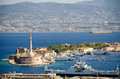 View over messina sicily the harbor of and the strait of in the background mainland italy villa san giovanni can be seen Royalty Free Stock Photography