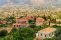 View over monreale summer landscape of sicily and cityscape of palermo shot from Stock Photos
