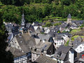 View over monschau is a town in germany on the border to belgium surround by the river ruhr it most famous for its traditional Stock Image