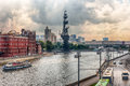 View over moskva river and peter the great statue moscow aerial in central russia Stock Photos