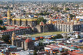 A view over old churches of Cholula, Puebla state Royalty Free Stock Photo