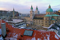 View over old town in Salzburg in the evening Royalty Free Stock Photo