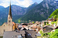 View over the quaint town of hallstatt with alps in background austria Royalty Free Stock Photo
