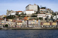 View over ribeira the old town of porto portugal episcopal palace and cathedral along douro river Royalty Free Stock Photography
