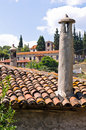 View over roofs of traditional greek mountain village at sithonia greece Royalty Free Stock Photo