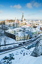 A view over the rooftops of old Tallinn Stock Photo
