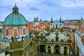 View over the rooftops in old town prague an overhead of with spires and evening Stock Images