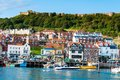 View over Scarborough South Bay harbor in North Yorskire, England Royalty Free Stock Photo