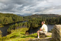 View over Tarn Hows in English Lake District Royalty Free Stock Photo