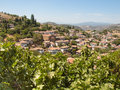 View over the turkish village of sirince in izmir province with fig tree in forground Stock Photos