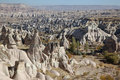 View over valley with cave houses, in Cappadocia,