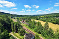 View over the valley of river Flöha near Hetzdorf in Saxony, Germany Royalty Free Stock Photo