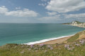 View over worbarrow bay dorset on coast Stock Images